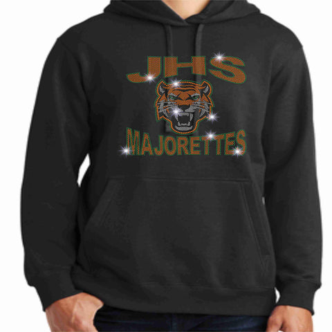 Jones High School JHS Majorette Hoodie - Available in Green, Orange and black-Hoodie Sweatshirt-Becky's Boutique-Small-Black-Beckys-Boutique.com