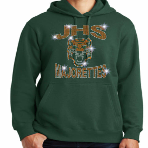 Jones High School JHS Majorette Hoodie - Available in Green, Orange and black-Hoodie Sweatshirt-Becky's Boutique-Small-Green-Beckys-Boutique.com