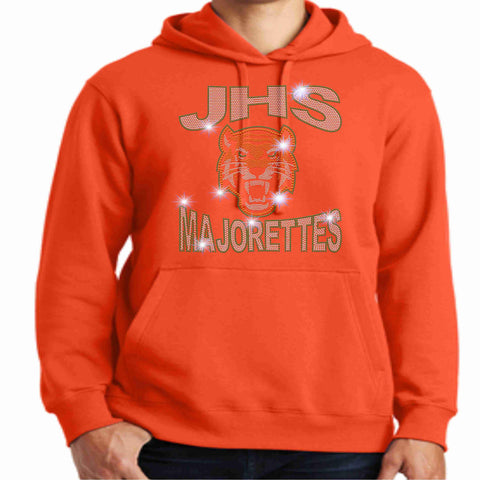 Jones High School JHS Majorette Hoodie - Available in Green, Orange and black-Hoodie Sweatshirt-Becky's Boutique-Small-Orange-Beckys-Boutique.com