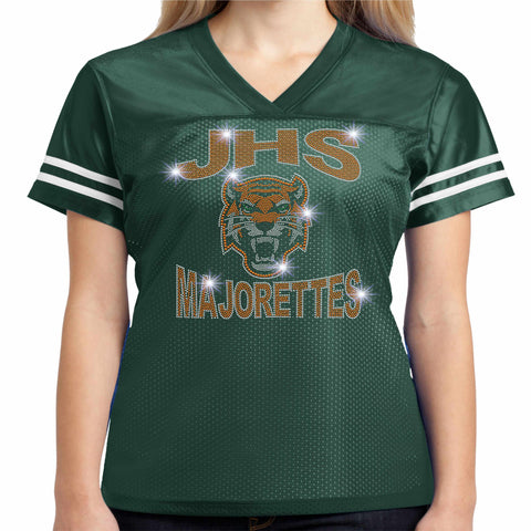 Jones High School JHS Majorette Jersey Shirt with name - Available in Green Jersey Beckys-Boutique.com Extra-Small
