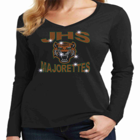 Jones High School JHS Majorette Ladies Long Sleeve v-neck- Available in Green, black and Orange-Ladies Long Sleeve V-neck-Becky's Boutique-Extra-Small-Black-Beckys-Boutique.com