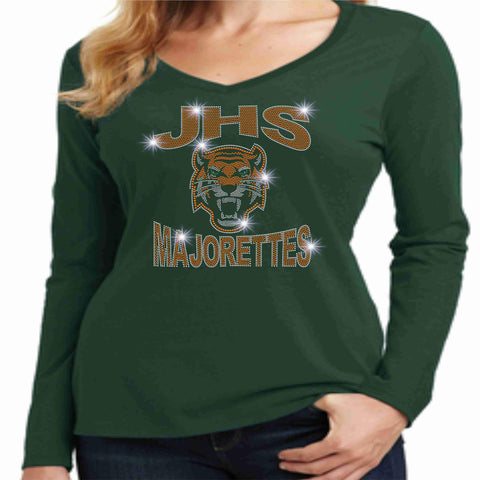 Jones High School JHS Majorette Ladies Long Sleeve v-neck- Available in Green, black and Orange-Ladies Long Sleeve V-neck-Becky's Boutique-Extra-Small-Green-Beckys-Boutique.com