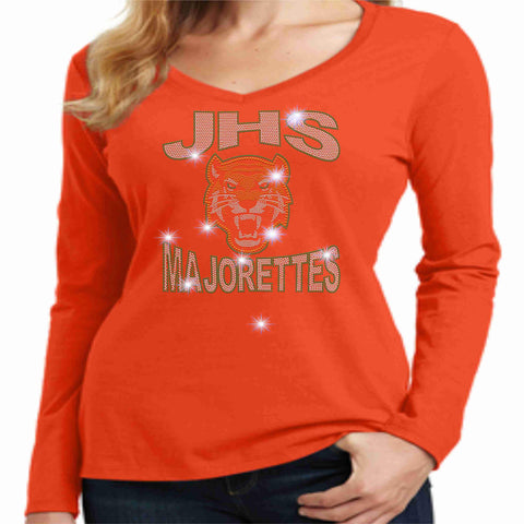 Jones High School JHS Majorette Ladies Long Sleeve v-neck- Available in Green, black and Orange-Ladies Long Sleeve V-neck-Becky's Boutique-Extra-Small-Orange-Beckys-Boutique.com