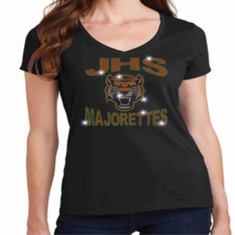 Jones High School JHS Majorette Ladies Short Sleeve v-neck- Available in Green, black and Orange-Ladies Short Sleeve V-neck-Becky's Boutique-Extra-Small-Black-Beckys-Boutique.com