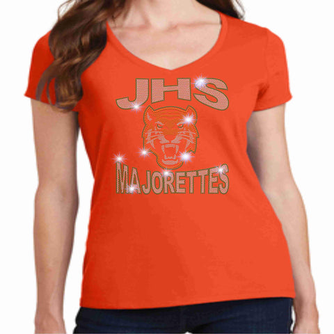 Jones High School JHS Majorette Ladies Short Sleeve v-neck- Available in Green, black and Orange-Ladies Short Sleeve V-neck-Becky's Boutique-Extra-Small-Orange-Beckys-Boutique.com
