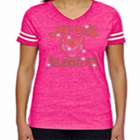 Jones High School JHS Majorette Pink out Jersey Shirt with name Jersey Beckys-Boutique.com Extra-Small