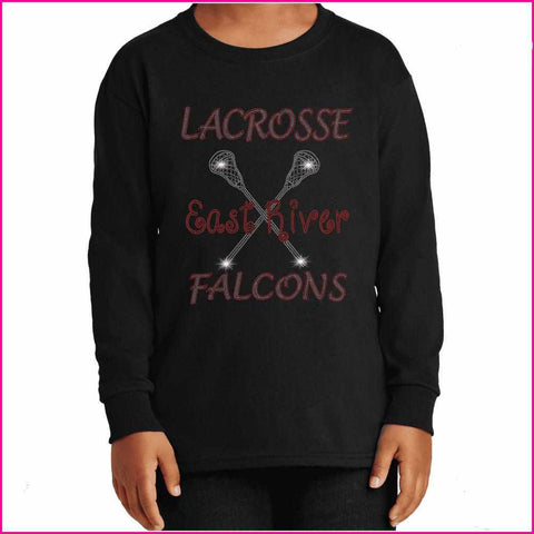 Lacrosse East River Falcons- High School Lacrosse Spangle bling - Youth Long Sleeve Youth Long Sleeve Becky`s Boutique Extra Small