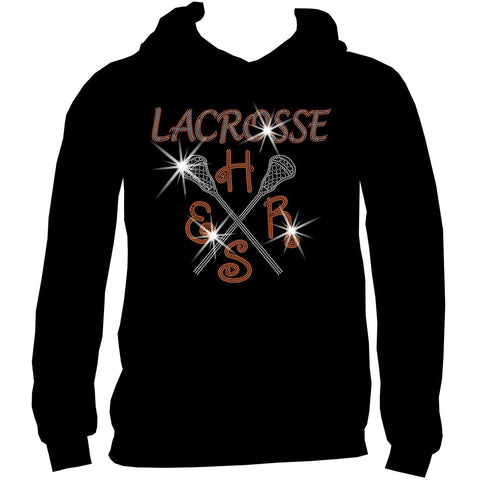 Lacrosse Mom Customizable School, Colors Ladies Holographic Spangle Sparkle Long Sleeve, Short Sleeve Shirt, and Hooded Sweatshirt-LS Shirt, SS Shirt, Racerback tank and hoodie-Becky's Boutique-XS-Adult Hooded Sweatshirt-Beckys-Boutique.com