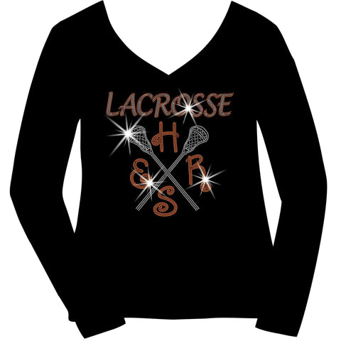 Lacrosse Mom Customizable School, Colors Ladies Holographic Spangle Sparkle Long Sleeve, Short Sleeve Shirt, and Hooded Sweatshirt-LS Shirt, SS Shirt, Racerback tank and hoodie-Becky's Boutique-XS-Long Sleeve V-Neck-Beckys-Boutique.com