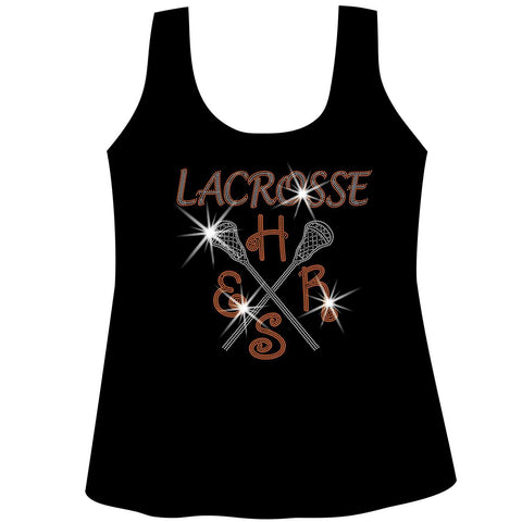 Lacrosse Mom Customizable School, Colors Ladies Holographic Spangle Sparkle Long Sleeve, Short Sleeve Shirt, and Hooded Sweatshirt-LS Shirt, SS Shirt, Racerback tank and hoodie-Becky's Boutique-XS-Racerback Tank-Beckys-Boutique.com