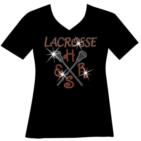 Lacrosse Mom Customizable School, Colors Ladies Holographic Spangle Sparkle Long Sleeve, Short Sleeve Shirt, and Hooded Sweatshirt-LS Shirt, SS Shirt, Racerback tank and hoodie-Becky's Boutique-XS-Short Sleeve V-Neck-Beckys-Boutique.com