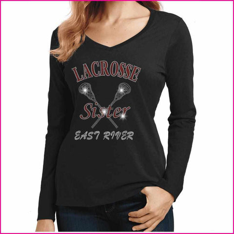 Lacrosse Sister ERHS- East River Falcons- High School Lacrosse - Ladies Long Sleeve V-Neck Ladies Long Sleeve V-neck Becky`s Boutique Extra Small