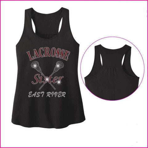 Lacrosse Sister ERHS- East River Falcons- High School Lacrosse - Ladies Racerback Tank ladies racerback tank Becky`s Boutique Extra Small