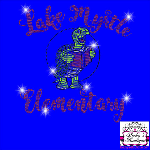 Lake Myrtle Elementary School Turtle Spangle Rhinestone Bling shirt - available in adult, youth, short, long sleeve, tank or hoodie sweatshirt VIEW ALL DESIGNS Becky's Boutique Womens Extra-small Womens short sleeve V-neck Royal Blue