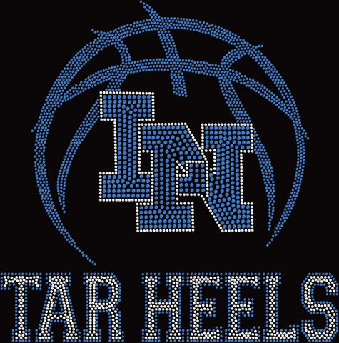 Image of Lake Nona Tar Heels LN basketball Spangle Rhinestone Bling shirt - available in adult, youth, short, long sleeve, tank or hoodie sweatshirt Schools Becky's Boutique