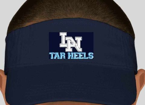 Image of Lake Nona Tarheels Visor- Spangle Rhinestone Bling or Embroidery -Multiple colors available Schools Becky's Boutique Embroidery Adult size hat Carolina Blue