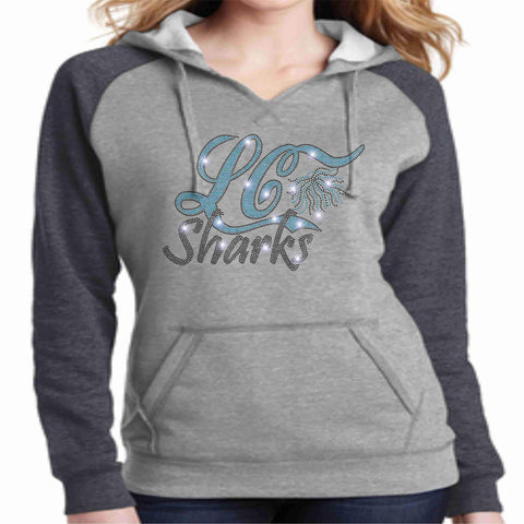 Image of LeaderCheer Sharks Ladies Bling Hoodie - Gray Hoodie Becky's Boutique Extra Small Leader Cheer Mommy Shark