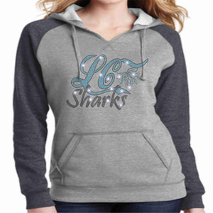 LeaderCheer Sharks Ladies Bling Hoodie - Gray Hoodie Becky's Boutique Extra Small Leader Cheer Mommy Shark