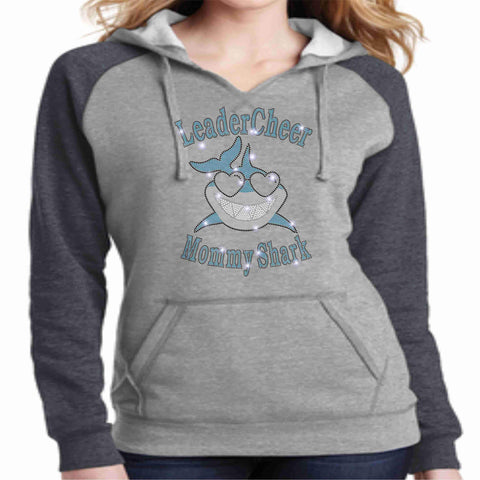 Image of LeaderCheer Sharks Ladies Bling Hoodie - Gray Hoodie Becky's Boutique Extra Small Sharks