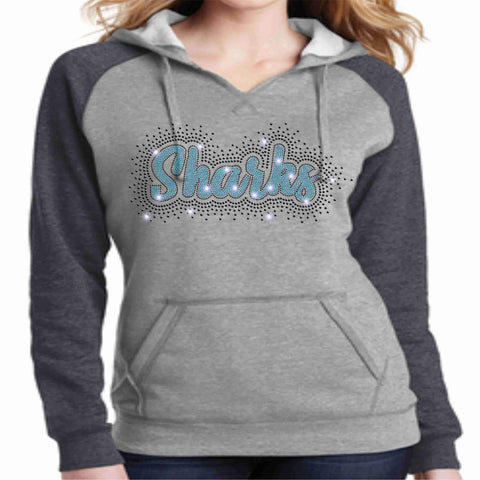 Image of LeaderCheer Sharks Ladies Bling Hoodie - Gray Hoodie Becky's Boutique