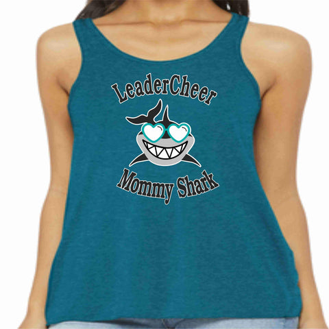 Image of LeaderCheer Sharks Ladies Racerback Tank, Glitter or Matte Print Ladies Tank Becky's Boutique Extra Small Teal