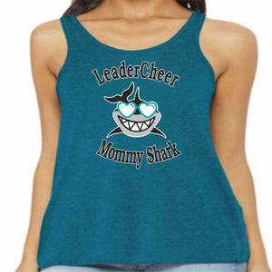 LeaderCheer Sharks Ladies Racerback Tank, Glitter or Matte Print Ladies Tank Becky's Boutique Extra Small Teal