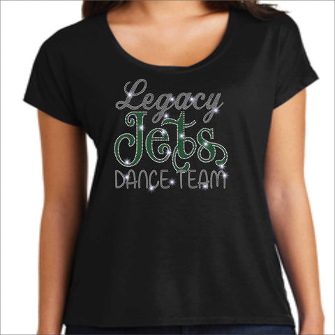 Legacy Jets - Ladies Flowy Shirt Flowy Shirt Beckys-Boutique.com Extra Small Black