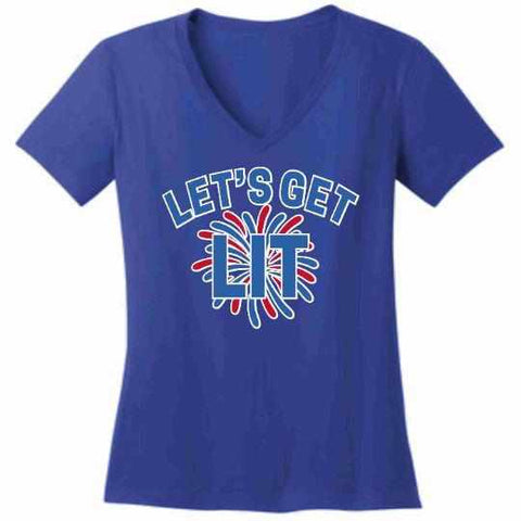 Image of Lets get LIT Firework - Ladies Short Sleeve V-Neck Shirt-Ladies Short Sleeve V-Neck Shirt-Becky's Boutique-Extra Small-Blue-Beckys-Boutique.com
