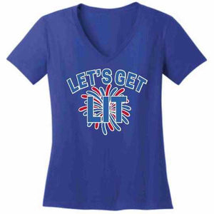 Lets get LIT Firework - Ladies Short Sleeve V-Neck Shirt-Ladies Short Sleeve V-Neck Shirt-Becky's Boutique-Extra Small-Blue-Beckys-Boutique.com