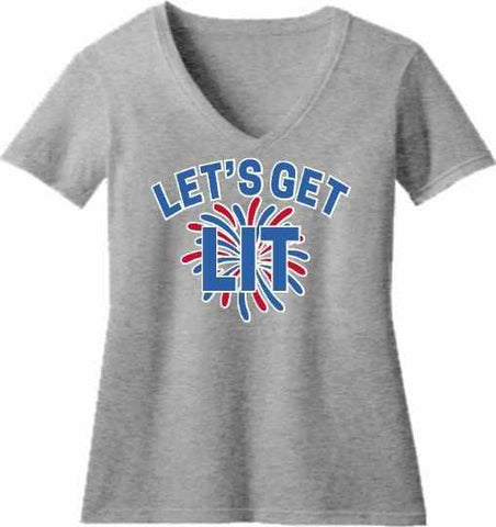 Image of Lets get LIT Firework - Ladies Short Sleeve V-Neck Shirt-Ladies Short Sleeve V-Neck Shirt-Becky's Boutique-Extra Small-Gray-Beckys-Boutique.com
