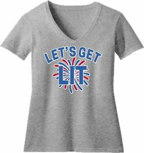 Lets get LIT Firework - Ladies Short Sleeve V-Neck Shirt-Ladies Short Sleeve V-Neck Shirt-Becky's Boutique-Extra Small-Gray-Beckys-Boutique.com