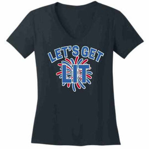 Lets get LIT Firework - Ladies Short Sleeve V-Neck Shirt-Ladies Short Sleeve V-Neck Shirt-Becky's Boutique-Extra Small-Navy Blue-Beckys-Boutique.com