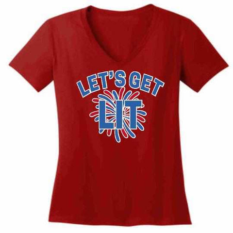 Image of Lets get LIT Firework - Ladies Short Sleeve V-Neck Shirt-Ladies Short Sleeve V-Neck Shirt-Becky's Boutique-Extra Small-Red-Beckys-Boutique.com