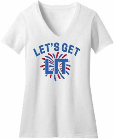Image of Lets get LIT Firework - Ladies Short Sleeve V-Neck Shirt-Ladies Short Sleeve V-Neck Shirt-Becky's Boutique-Extra Small-White-Beckys-Boutique.com