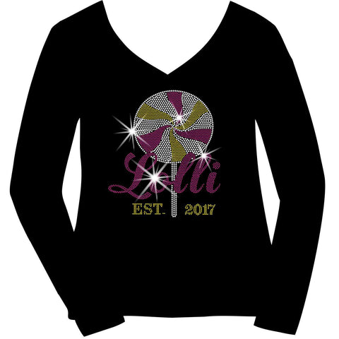 Lolli Established Personalized Year Holographic Sparkle Spangle Bling- Ladies Short Sleeve V-Neck, Long Sleeve V-Neck, Racerback Tank, Unisex hooded Sweatshirt-Long Sleeve V Neck, Short Sleeve V -Neck, Hoodie Sweatshirt-Becky's Boutique-XS-Long Sleeve V-Neck-Beckys-Boutique.com