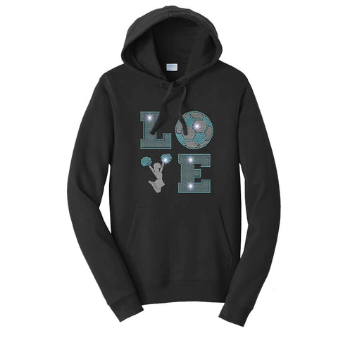 LOVE Cheer and soccer Spangle Bling Cheer - Hoodie Sweatshirt Hoodie Sweatshirt Becky`s Boutique Extra Small