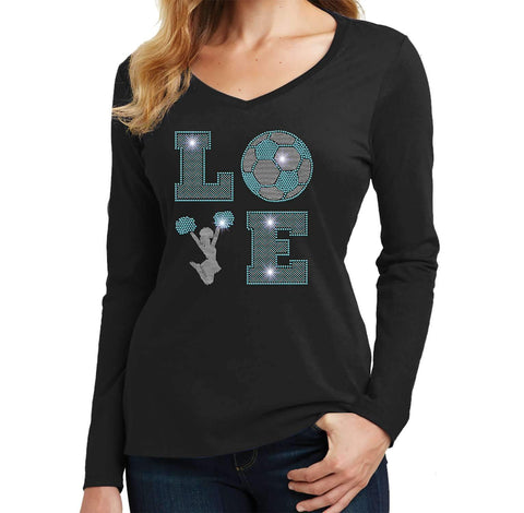 LOVE Cheer and soccer Spangle Bling Cheer - Ladies Long Sleeve V-Neck Ladies Long Sleeve V-neck Becky`s Boutique Extra Small