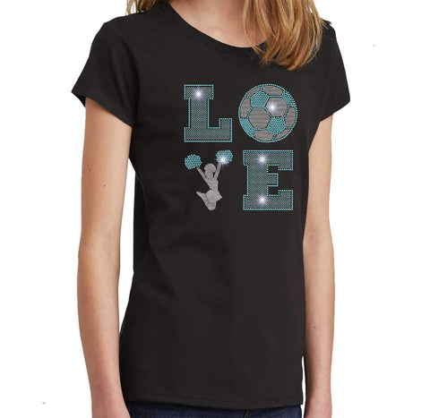 LOVE Cheer and soccer Spangle Bling Cheer - Youth Short Sleeve Youth Short Sleeve Becky`s Boutique Extra Small