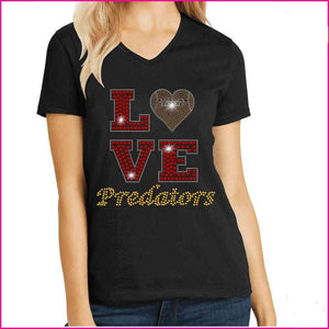 LOVE football heart East Orlando Junior Predators - EOJP Spangle Rhinestone Bling shirt - available in adult, youth, short, long sleeve, tank or hoodie sweatshirt Sports Becky's Boutique Womens Extra-small Womens short sleeve V-neck Red