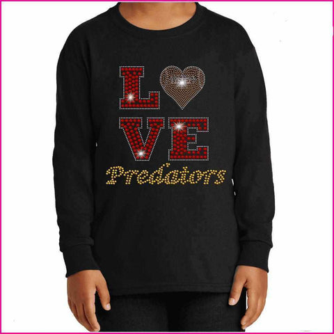 LOVE football heart East Orlando Junior Predators - EOJP - Youth Long Sleeve Youth Long Sleeve Becky`s Boutique Extra Small
