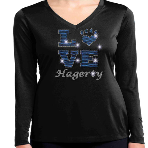LOVE Paw Hagerty Huskies Black - Ladies Long Sleeve V-Neck Ladies Long Sleeve V-neck Becky`s Boutique Extra Small