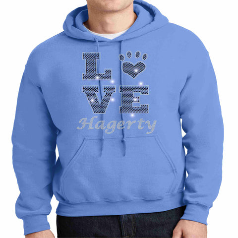 LOVE Paw Hagerty Huskies Blue - Hoodie Sweatshirt Hoodie Sweatshirt Becky`s Boutique Extra Small