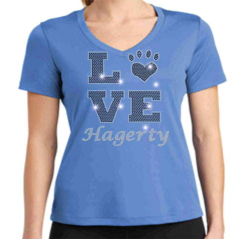 LOVE Paw Hagerty Huskies Blue - Ladies Short Sleeve V-Neck Ladies Short Sleeve V-neck Becky`s Boutique Extra Small