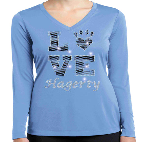 LOVE Paw Hagerty Huskies Blue - Ladies Long Sleeve V-Neck Ladies Long Sleeve V-neck Becky`s Boutique Extra Small