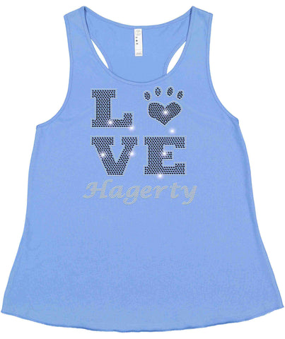 LOVE Paw Hagerty Huskies Blue - Ladies Racerback Tank ladies racerback tank Becky`s Boutique Extra Small
