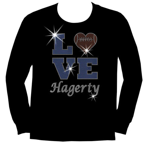 Love Personalized Team Football, Holographic Sparkle Spangle, Youth Short Sleeve Crew Neck, Long Sleeve Crew Neck, Tank top, Youth Hooded Sweatshirt-Youth LS, SS, tank and Hoodie-Beckys-Boutique.com-XS-Long Sleeve Crew Neck-Beckys-Boutique.com