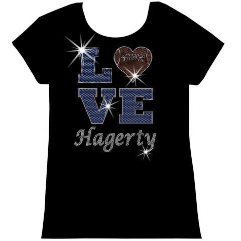 Love Personalized Team Football, Holographic Sparkle Spangle, Youth Short Sleeve Crew Neck, Long Sleeve Crew Neck, Tank top, Youth Hooded Sweatshirt-Youth LS, SS, tank and Hoodie-Beckys-Boutique.com-XS-Short Sleeve Crew Neck-Beckys-Boutique.com