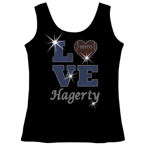 Love Personalized Team Football, Holographic Sparkle Spangle, Youth Short Sleeve Crew Neck, Long Sleeve Crew Neck, Tank top, Youth Hooded Sweatshirt-Youth LS, SS, tank and Hoodie-Beckys-Boutique.com-XS-Tank Top-Beckys-Boutique.com