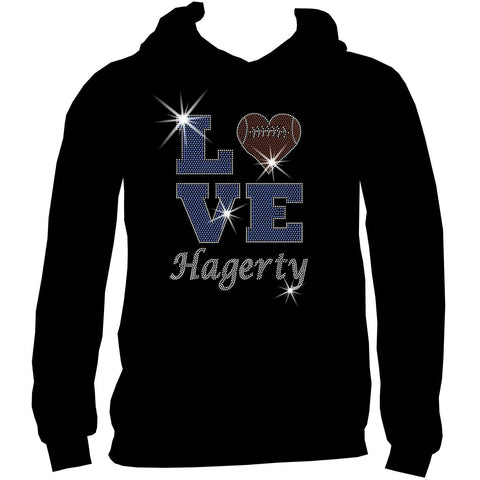 Love Personalized Team Football, Holographic Sparkle Spangle, Youth Short Sleeve Crew Neck, Long Sleeve Crew Neck, Tank top, Youth Hooded Sweatshirt-Youth LS, SS, tank and Hoodie-Beckys-Boutique.com-XS-Youth Hooded Sweatshirt-Beckys-Boutique.com