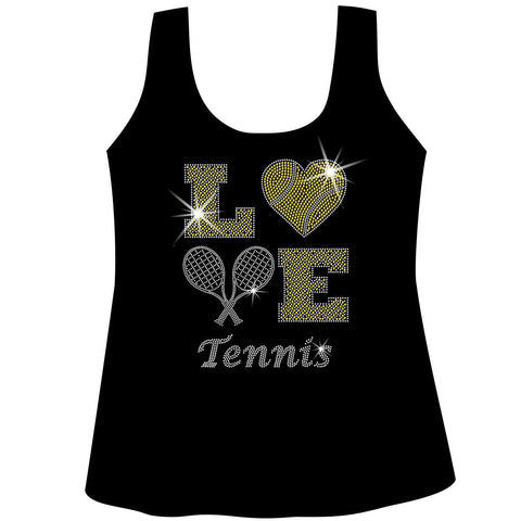 LOVE Tennis Holographic Sparkle Spangle Bling shirt - Ladies Short, Long Sleeve, Tank or Hoodie Sweatshirt-LS Shirt, SS Shirt, Racerback tank and hoodie-Becky's Boutique-X-Small-Ladies Gathered Racerback Tank-Beckys-Boutique.com
